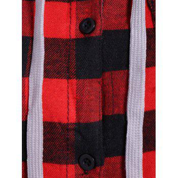 Casual Long Sleeve Hooded Plaid Check Shirt - RED XL