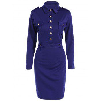 Buttoned Long Sleeve Sheath Dress
