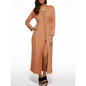Long Sleeve Lace-Up Maxi Dress