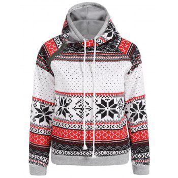 Double Hooded Snowflake Print Inclined Zipper Hoodie