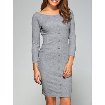 Button-Down Ribbed Bodycon Dress
