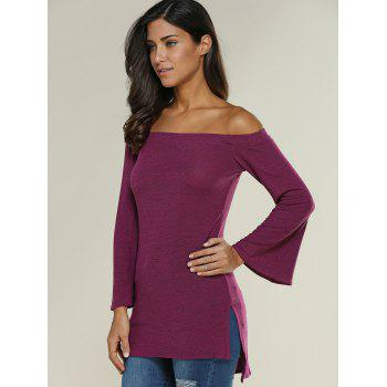 Off The Shoulder Side Slit Asymmetrical T-Shirt - XL XL