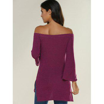 Off The Shoulder Side Slit Asymmetrical T-Shirt - PURPLISH RED L