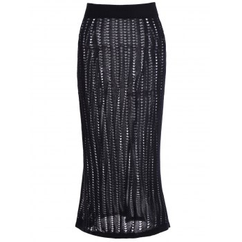 Elastic Waist Hollow Out Slit Knitted Skirt