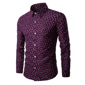 Long Sleeve All Over Leaves Printed Shirt