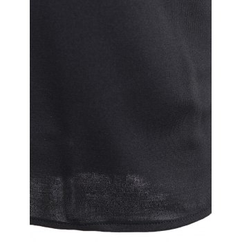 Short Sleeve Plain Slim Dress - BLACK M