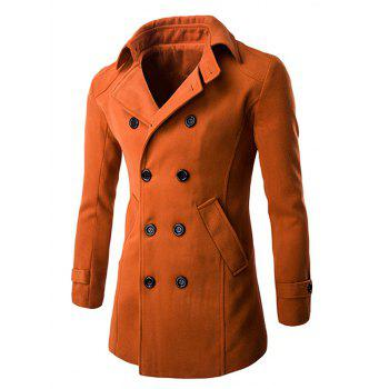 Double Breasted Wool Blend Coat in Slim Fit