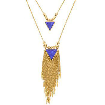 Layered Triangle Faux Pierre Collier Fringe - Bleu Royal