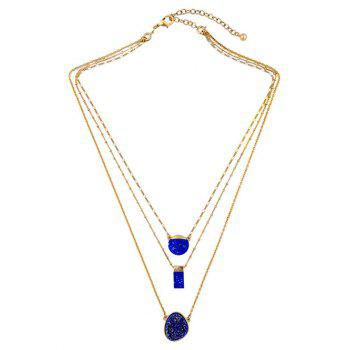 Layered Rectangle Faux Stone Necklace