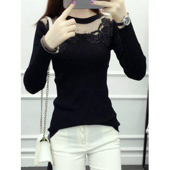 Butterfly Applique Mesh Patchwork Knitwear