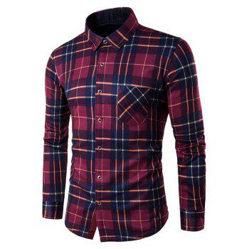 Buy Long Sleeves Breast Pocket Fleece Lined Plaid Shirt RED