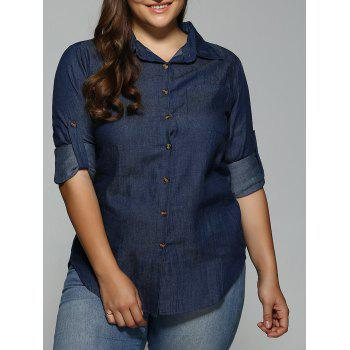 Plus Size Button-Down Dark Denim Shirt