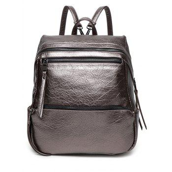 Metal PU Leather Zippers Backpack
