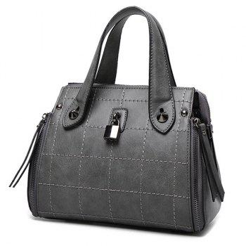 Lock Embellished Grid Stitching Handbag