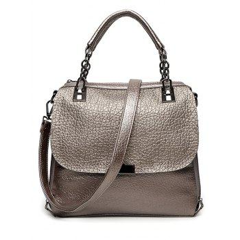 Metal Chain Textured Leather Tote Bag