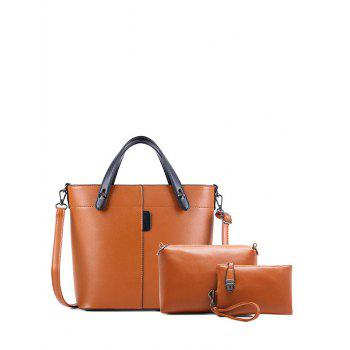 Rivets PU Leather Color Spliced Tote Bag