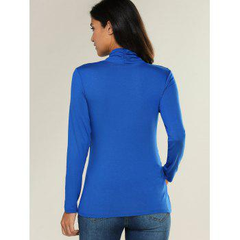 Ruffled Cross Wrap T Shirt - BLUE XL