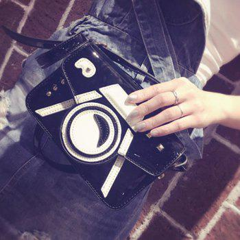 Color Splicing Rivets Camera Pattern Crossbody Bag