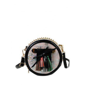 Rivets Tassels Round Shape Crossbody Bag