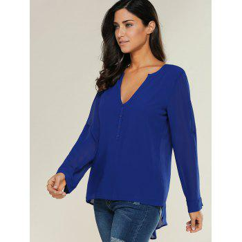 V Neck See-Through Blouse - BLUE BLUE