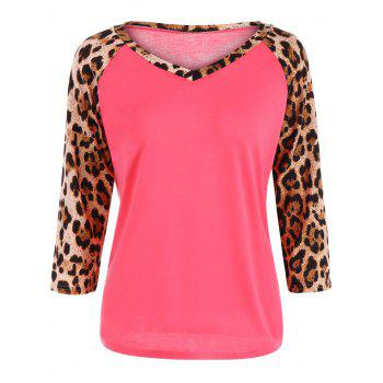 Leopard Print Raglan Sleeve Tee - LIGHT RED S