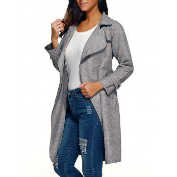 Belted Faux Suede Wrap Coat