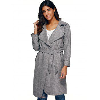 Belted Faux Suede Wrap Coat - GRAY GRAY