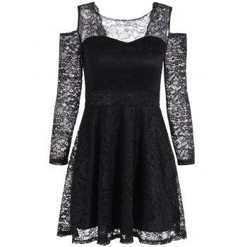 Cold Shoulder See Through Long Sleeve Lace Skater Mini Dress - BLACK ONE SIZE