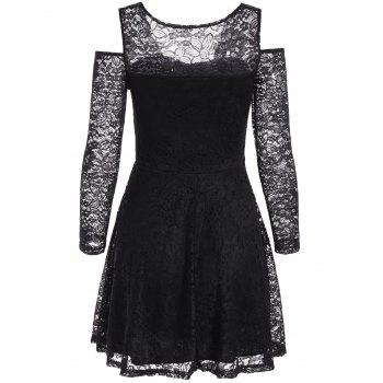 Cold Shoulder See Through Long Sleeve Lace Skater Mini Dress - ONE SIZE ONE SIZE