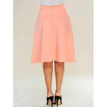High Waist Zipped A Line Skirt - M M