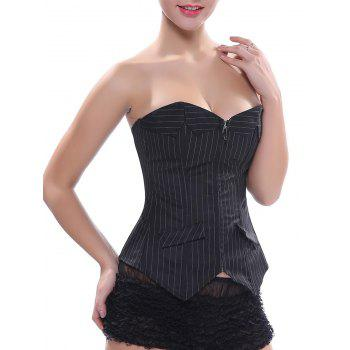 Back Lace-Up Striped Zippered Corset
