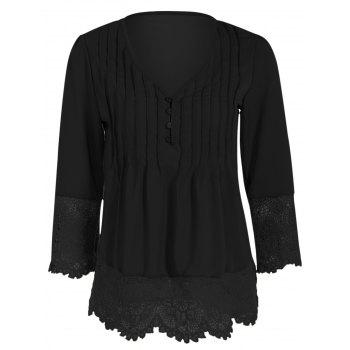 Asymmetric Crochet-Trimmed Blouse