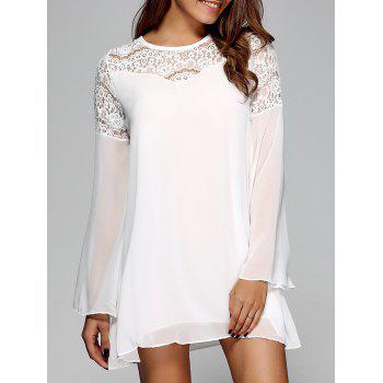 Openwork Bell Sleeve Chiffon Shift Dress