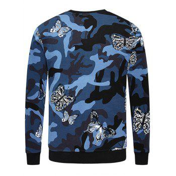 Long Sleeve Camo Butterfly Print Crew Neck Sweatshirt - SAPPHIRE BLUE M