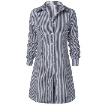 Striped Long Sleeve Button Up Polo Formal Shirt Dress