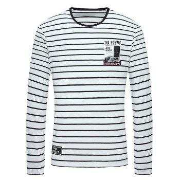 Long Sleeve Striped Printed Round Neck T-Shirt