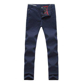 Zipper Fly Straight Leg Plaid Edging Pants