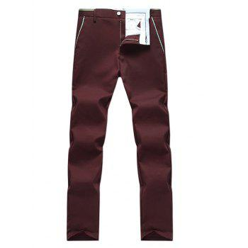 Zipper Fly Edging Straight Leg Pants