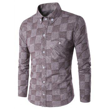 Grid Fleece Lined Texture Button-Down Shirt