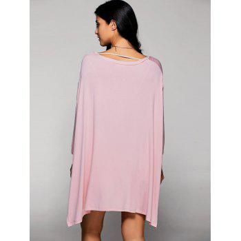 Scoop Neck Batwing Sleeve Side Slit T-Shirt - SHALLOW PINK SHALLOW PINK