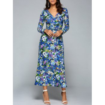 Plunge Neck Long Sleeve Printed Maxi Dress