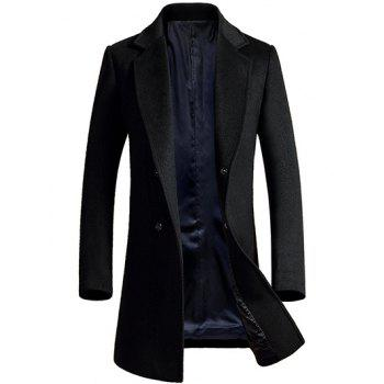 Lapel Single Breasted Longline Wool Coat
