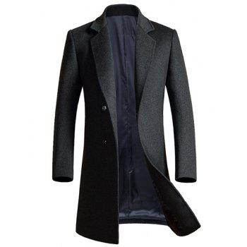 Buy Lapel Single Breasted Longline Wool Coat