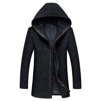 Hooded Longline Zip Up Wool Coat