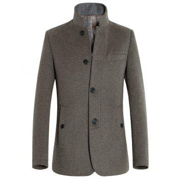 Stand Collar Single-Breasted Slimming Woolen Coat