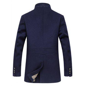 Tenez-Coat Collar Zip-Up broderie de laine - Bleu Cadette 3XL
