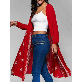 Embroidered Long Cover-Up Blouse