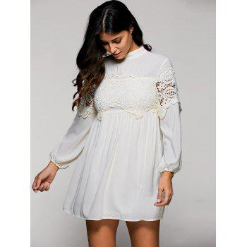 Lace Trim Long Sleeve Mock Neck Swing Dress