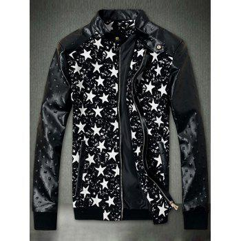Embossed PU Leather Insert Star Print Zip Up Jacket