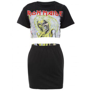 Cropped Top with Halloween Mini Skirt